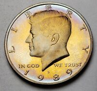 1989-S KENNEDY HALF DOLLAR PROOF BU UNC BEAUTIFUL COLOR TONED COIN