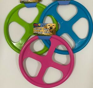 Pet Touch Giant Doggy Flying Disc Dog Frisbee (Pink, Blue or Green) 32cm across