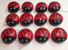 12 Ladybug Yoyo Wooden Lady Bug Toy New Wholesale Party Favor