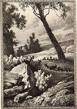 EAU FORTE / Fables de la Fontaine 1883 / MONSIEUR LE DUC DE LA ROCHEFOUCAULT