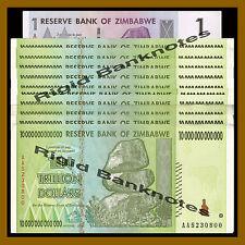 10 X Zimbabwe 10 Trillion Dollars (100 Trillion) + 1 Dollar -paper banknotes Cir
