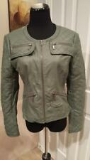 Medium Blanc Noir Army Green Faux Leather Moto Jacket