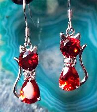 Earrings Cat Red Sterling Silver 925 and Zirconia