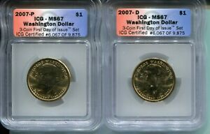 2007-D/P George Washington Presidential Dollar MS67 -  ICG