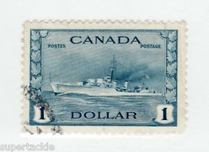 Canada 1942 #262 Θ used F-VF $1 WWII Navy Ship Destroyer - light cancel