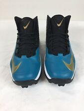 Nike football lacrosse Cleats Black Teal Gold Size 14 Mens leather nylon