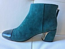 NINE WEST 'Joanne' Green Suede & Leather Ankle Boots Shoes Booties Size 6M NWOB