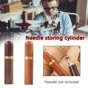 Wood Box Leather Knitting Needle Box Craft DIY Sewing Needles Housing Boxes US
