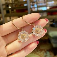 925 Silver Gold Sunflower Cubic Zirconia Earrings Hoop Stud Dangle Drop Jewelry
