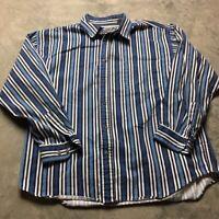 90s VTG RUSTLER DENIM Vertical Striped XL Shirt Black Blue White WORK Bold Jean