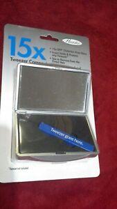 Floxite 15X Magnifying Tweezer Case Compact Vanity Travel Purse Make Up Mirror