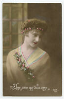 1910s Glamour Glamor LOVELY YOUNG LADY Pretty French photo postcard