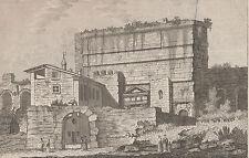 Gravure ancienne, aqueduc Acqua Claudia, Rome. Engraving incisione Roma.