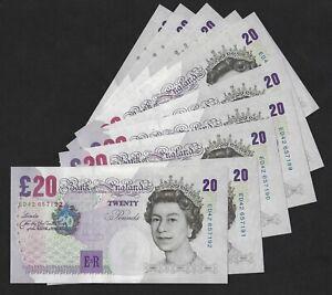 Bailey Elgar Twenty Pound £20 Banknote (2004-7) from consecutive run B402 Unc