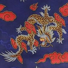 CHINESE DRAGONS Blue Red Metallic 100% Cotton Fabric  BY THE YARD Free Ship
