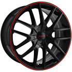"4-Touren TR60 16x7 5x100/5x4.5"" +42mm Black/Red Wheels Rims 16"" Inch"