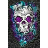 "Full Square Drill 5D Diy Diamond Painting ""Flower Skull"" Embroidery Cross Sti G8"