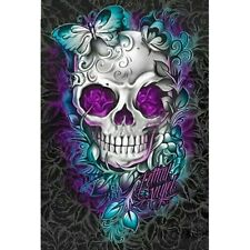"1X(Full Square Drill 5D Diy Diamond Painting ""Flower Skull"" Embroidery CrosJ9R4)"