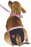 Mutandine igieniche per cani cintura igienica Nera con pizzo rosa e cuore mis. 1