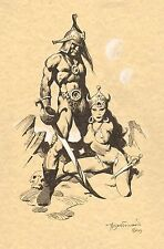 BARBARIAN & BABE PINUP MIKE HOFFMAN ORIGINAL COMIC ART Horror gga sleaze pulp
