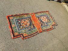 Antique Tibetan rug saddle bags Textile weaving 19th century  AS IS collector's