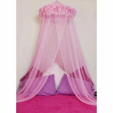 Mombasa Feather Boa Hoop Sheer Netted Canopy Twin or Full Bed, Pink