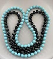 "2 Vintage Pop Beads Necklaces 27"" Black & 31"" Robin's Egg Blue Retro Plastic"