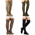 Womens Over The Knee Thigh High Boots Stretch Lace Up Low Heel Winter Shoes Size