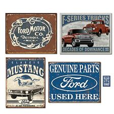 Vintage Ford Tin Sign Bundle Motor Co. HISTORIC Logo Classic Mustang F-series