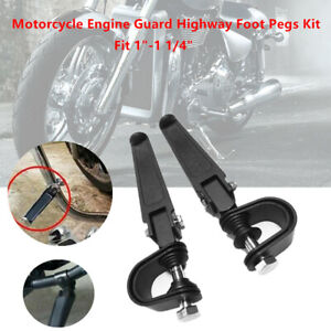 """2PCS Motorcycle Highway 1-1 1/4"""" Folding Pedal Engine Guard Foot Peg Mount Clamp"""