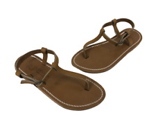 K Jacques Womens Sandals Flat T Strap Ankle Strap Brown Leather New In Box Sz 5