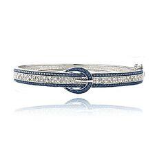 0.50ct TDW Blue & White Diamond Belt Buckle Bangle Bracelet