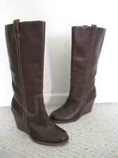 FRYE Carolione Campus Brown Leather Wedge Boots Size 10