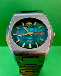 Vintage ORIENT 0S469CO48B automatic  MOP Green Day DATE SS Bracelet 21j R2