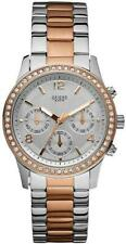 New Guess Ladies U0122L1 Multi Dial Crystals Silver-Rosegold Band Watch