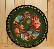 Vintage hand painted floral metal round tole tray