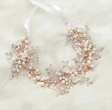 Bridal Bridesmaid Wedding Rose Gold Hair Vine Tiara Crystals Pearls Flower Leaf
