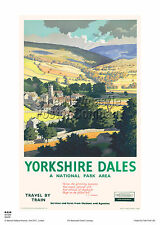 RIBBLESDALE YORKSHIRE DALES RETRO VINTAGE RAILWAY TRAVEL POSTER ADVERTISING