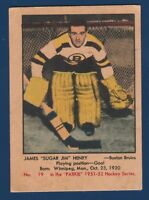 JAMES SUGAR JIM HENRY ROOKIE RC  51-52 PARKHURST 1951-52 NO 19 GOOD+ 23928