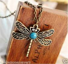 Necklace antique LONG chain pendant dragonfly rhinestone Crystals  free gift bag