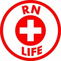 RN LIFE High Quality Vinyl Decal Sticker Medical Registered Nurse Life Nursing