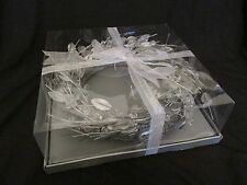 "New in Box 14"" Bloomingdales Silver Leaf Christmas Wreath with Clear Beads"