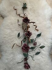 French chateau? Pink Green Metal Climbing Rose Wall Sconce Candle Holder