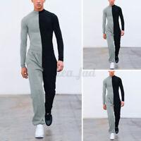 Mode Herren Langarm Jumpsuit Slim Fit Freizeithose Spielanzüge Overalls Hosen