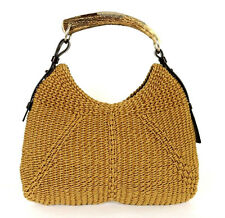 YVES SAINT LAURENT Tan Woven Rope MOMBASA Horn Handle Hobo Bag