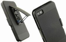 Black Rubberized Hard Case Belt Clip Holster Stand Cover For Blackberry Z10