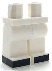 LEGO Nuovo Bianco Figure Mini Fianchi Gambe Con Nero Stivali Piedi Bambina Città