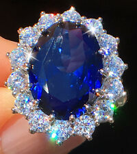 8 ct Sapphire RIng Swiss Corundum With Stunning CZ Moissanite Simulant Size 6