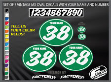 vintage motocross number plates Sticker Ovals YOUR # YOUR NAME d17E05
