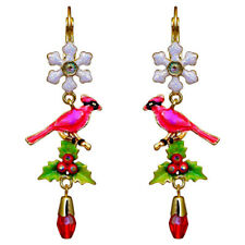 Kirks Folly Winter Cardinal Leverback Pierced Earrings goldtone